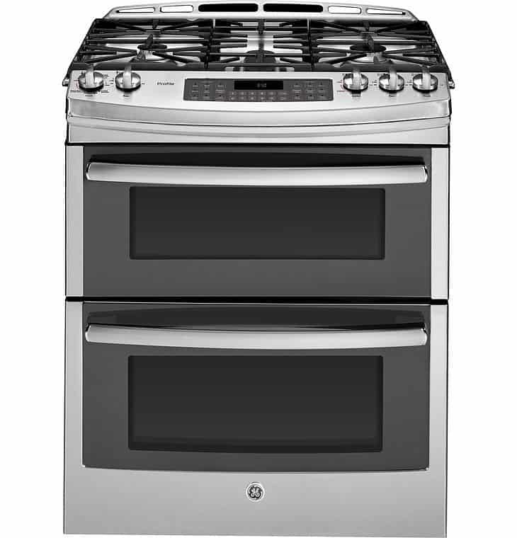 best-30-inch-gas-range-GE-Stainless-Steel-Gas-Slide-In-Sealed-Burner-Double-Oven-Range