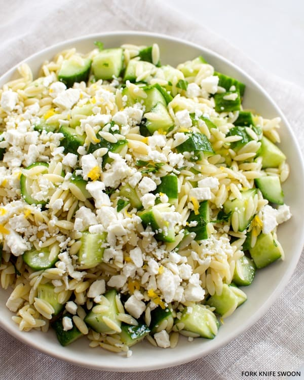Lemony Orzo Pasta Salad with Cucumber and Feta