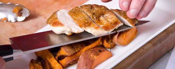 Pan-Roasted Chicken With Roasted Sweet Potatoes And Herbs