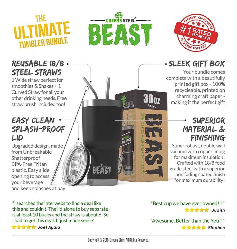 Beast 30oz coffee tumbler